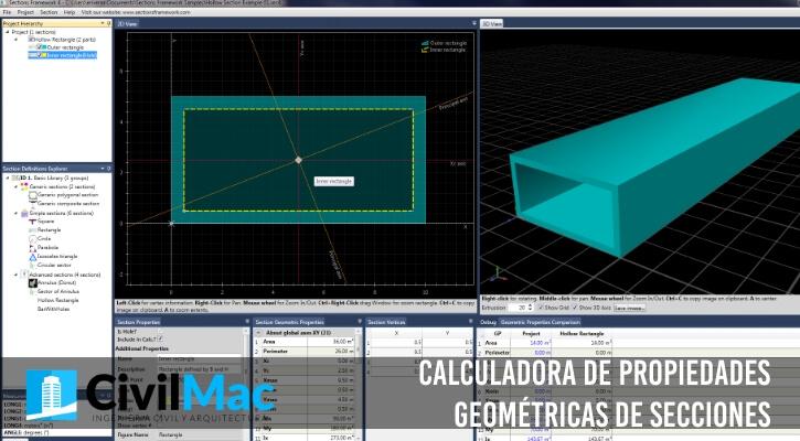 Calculadora de propiedades geométricas de secciones